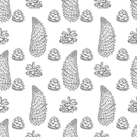 Cone. Hand drawn illustration. New year and Christmas design elements. Greeting card invitation with xmas graphic. Seamless patterns. Banque d'images - 135429539