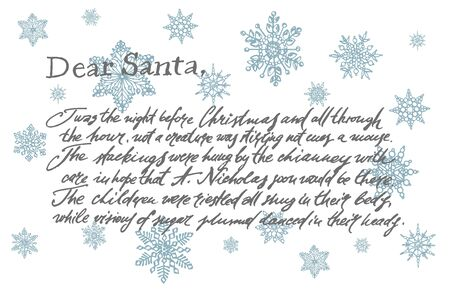 Illustration of a letter from Santa Claus on background with snowflakes template. Xmas postcard. Vintage illustration.
