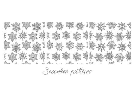 Christmas snowflakes on white background. Seamless pattern. New year and Christmas design elements. Greeting card invitation with xmas snow. Vintage illustration.