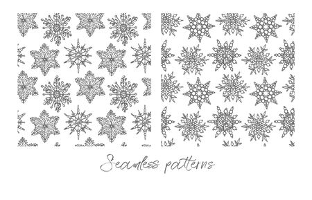 Christmas snowflakes on white background. Seamless pattern. New year and Christmas design elements. Greeting card invitation with xmas snow. Vintage illustration. Banque d'images - 135429543