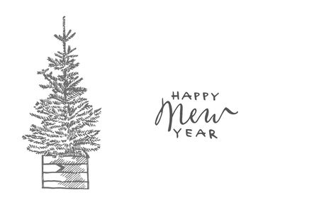 Happy New Year and Merry Christmas lettering phrases. New year and Christmas design elements. Greeting card invitation with xmas graphic. Vintage illustration