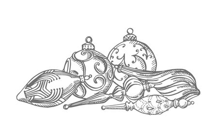 Christmas tree toys. Hand drawn illustration. New year and Christmas design elements. Greeting card invitation with xmas graphic. Vintage illustration. Banque d'images - 135429546