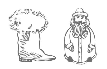 Christmas boot Santa Claus. Hand drawn illustration. New year and Christmas design elements. Greeting card invitation with xmas graphic. Vintage illustration Banque d'images - 135429550