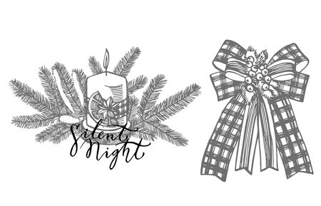 Xmas set. Branches of Christmas trees and Candle. New year and Christmas design elements. Greeting card invitation with xmas graphic. Vintage illustration. Banque d'images - 135430909