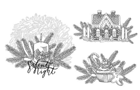 Xmas set. Branches of Christmas trees and Candle. New year and Christmas design elements. Greeting card invitation with xmas graphic. Vintage illustration