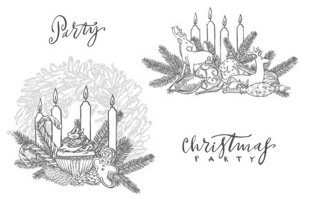 Xmas set. Branches of Christmas trees and Candle. New year and Christmas design elements. Greeting card invitation with xmas graphic. Vintage illustration Banque d'images - 135432623