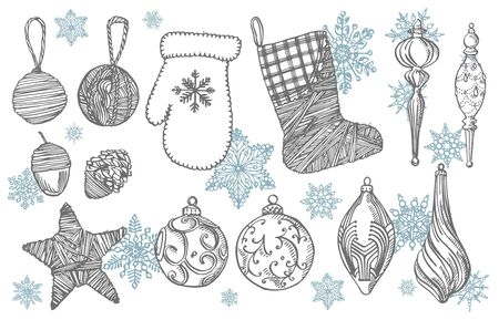 Christmas mitten, sock, star and cone. Hand drawn illustration. New year and Christmas design elements. Greeting card invitation with xmas graphic. Vintage illustration Banque d'images - 135483911