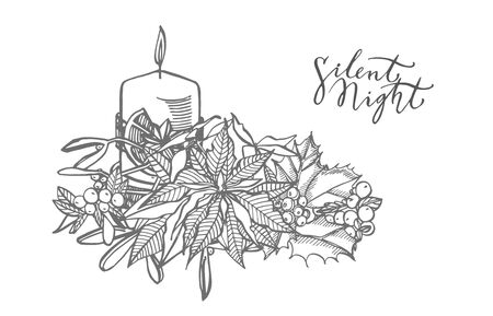 Branches of Christmas winter plants and Candle. New year and Christmas design elements. Greeting card invitation with xmas graphic. Vintage illustration Illusztráció