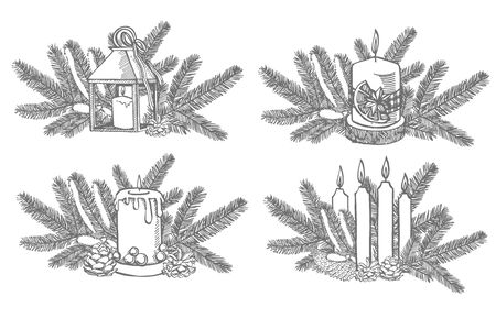 Xmas set. Branches of Christmas trees and Candle. New year and Christmas design elements. Greeting card invitation with xmas graphic. Vintage illustration.