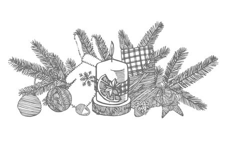 Christmas mitten, sock, star and cone. Hand drawn illustration. New year and Christmas design elements. Greeting card invitation with xmas graphic. Vintage illustration. Banque d'images - 135484184