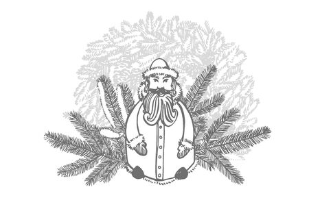 Christmas tree and Santa Claus. Hand drawn illustration. New year and Christmas design elements. Greeting card invitation with xmas graphic. Vintage illustration Banque d'images - 135488322