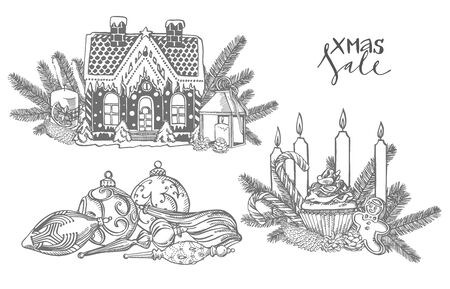 Xmas set. Branches of Christmas trees and Candle. New year and Christmas design elements. Greeting card invitation with xmas graphic. Vintage illustration Banque d'images - 135592249
