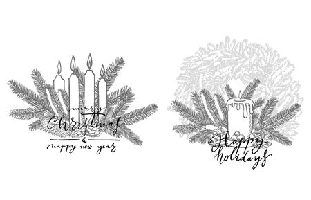 Xmas set. Branches of Christmas trees and Candle. New year and Christmas design elements. Greeting card invitation with xmas graphic. Vintage illustration Banque d'images - 135594899