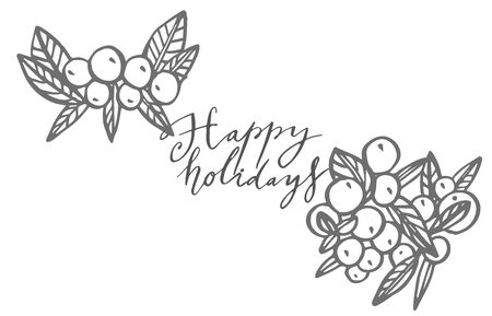 Christmas winter plants, flowers and berries. Greeting card invitation with xmas graphic. Vintage illustration. Banque d'images - 135594911