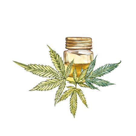 CBD oil hemp products. Watercolor illustration on white background Reklamní fotografie