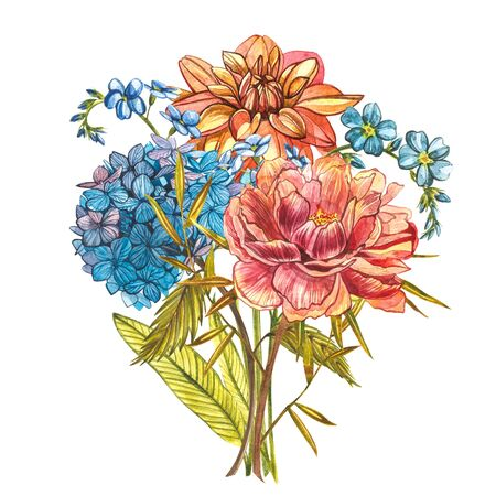 Watercolor bouquet with Piones, Forget-me-not flowers, Dahlias and Hidrungea. Wild flower set isolated on white. Botanical watercolor illustration, rustic flowers. Good for cosmetics, medicine, treating, aromatherapy, nursing, package design, field bouquet. Hand drawn wild hay flowers