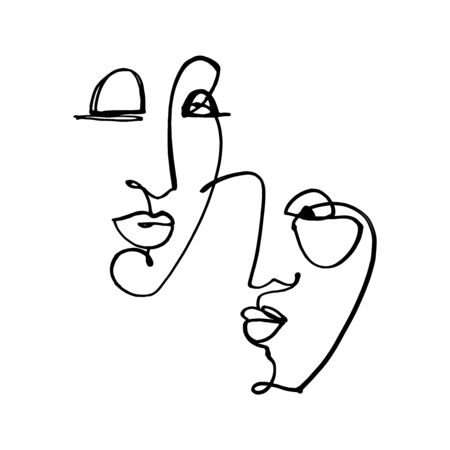 Abstract Fashion Artistic Portrait Painted Illustration Of People Faces Silhouette Couple One Line Drawing Abstraction Modern Aesthetic Print Minimalism Interior Contour Handdrawn Lineart Continuous.