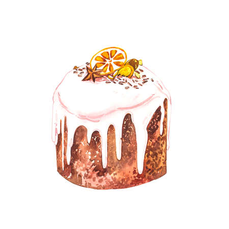 Watercolor easter cake. Hand draw watercolor illustrations on white background. Easter collection.