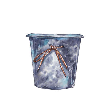 Watercolor flower pot. Hand draw watercolor illustrations on white background. Easter collection.
