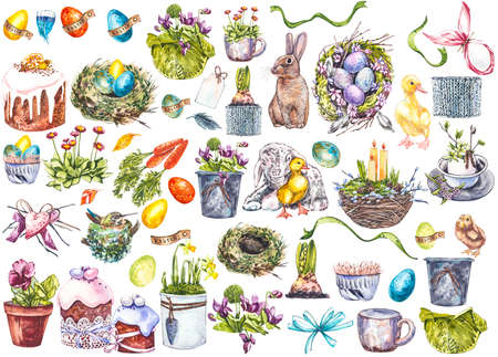 Easter set and template clip art with Easter eggs, flowers, animals, easter cake, birds nest on white background. Watercolor illustrations.