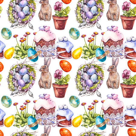 Colorful easter seamless patterns. Easter set. Watercolor illustration on white background. Banco de Imagens