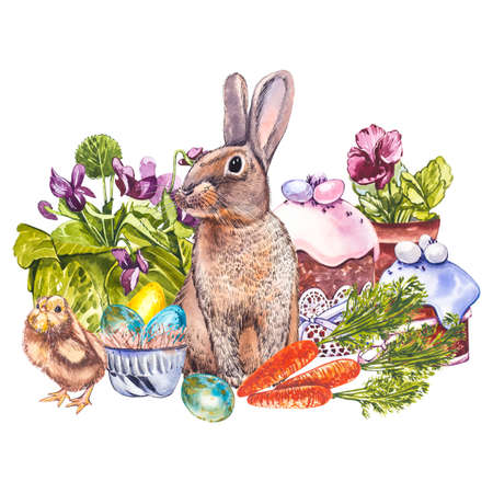 Cute rabbit animal watercolor illustration. Easter set. Hand painted card with traditional symbols isolated on white background. Cute baby rabbit illustration for design. Banco de Imagens