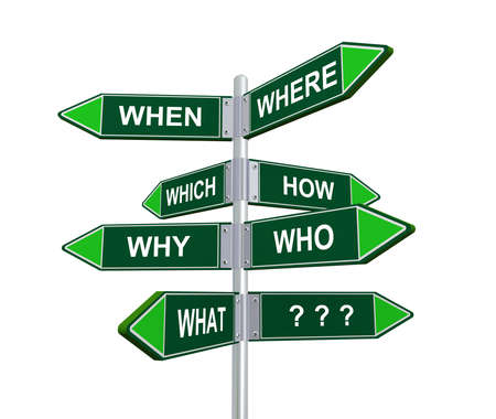 unanswered: 3d illustration of different question words directional signpost road sign