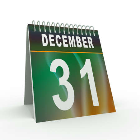 31: 3d illustration of calender with 31 december page