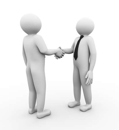 uniting: 3d illustration of business person shaking hands. 3d human person character and white people