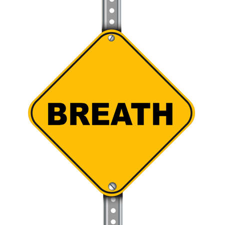 worry tension: Illustration of yellow signpost road sign of breath