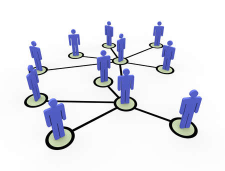 illustratin: 3d illustratin of connected business people network