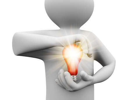 3d illustration of man holding light electric bulb in his hand. 3d human person character and white people.