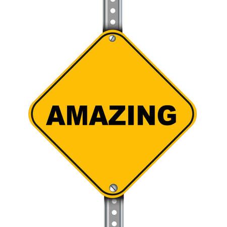 amazement: Illustration of yellow signpost road sign of amazing