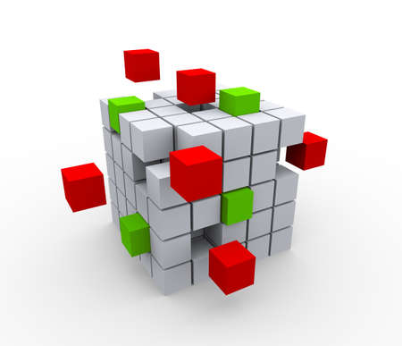 abstract cubes: 3d illustration of abstract cubes structure on white background Stock Photo