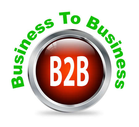 b2e: Illustration of shiny round glossy button of business to business - b2b