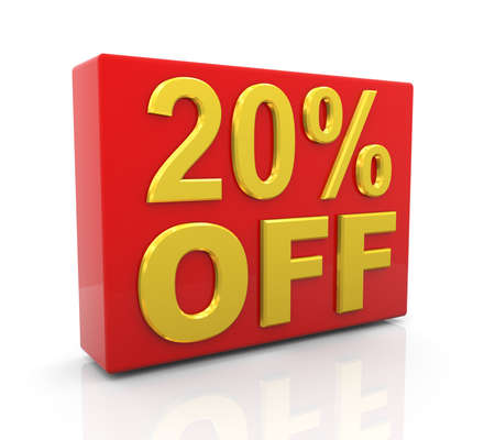 christmas savings: 3d illustration of 20 per cent off sale discount.