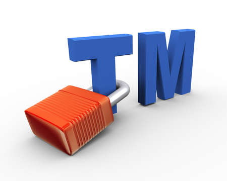 tm: 3d illustration of copyright trademark tm attached to padlock Stock Photo