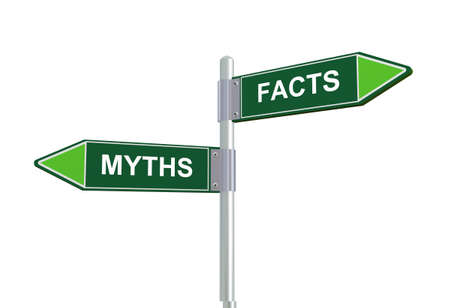 disbelief: 3d illustration of facts and myths directional signpost road sign. Stock Photo