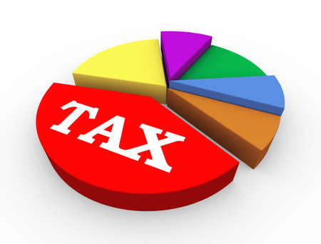 taxation: 3d illustration of concept of heavy taxation pie chart presentation
