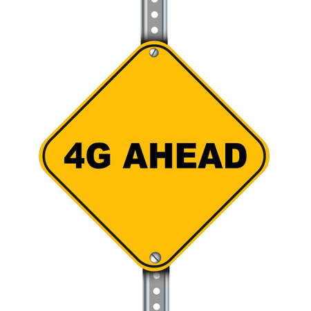 4g: Illustration of yellow signpost road sign of 4g ahead
