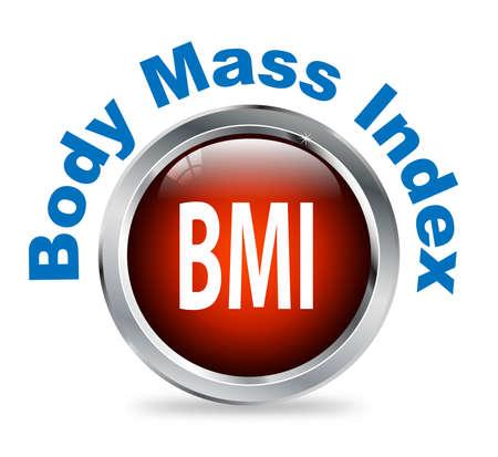 fatness: Illustration of shiny round glossy button of body mass index - bmi Stock Photo