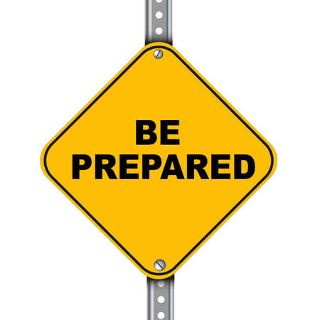 Illustration of yellow signpost road sign of be prepared Stock Illustration - 50872313