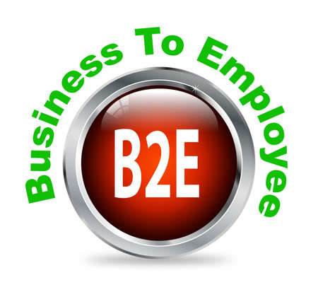 b2e: Illustration of shiny round glossy button of business to employee - b2e Stock Photo