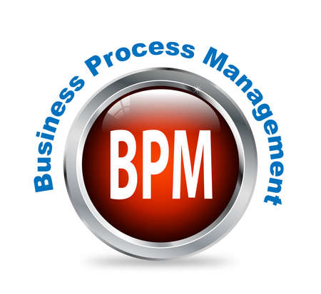 bpr: Illustration of shiny round glossy button of business process management - bpm Stock Photo