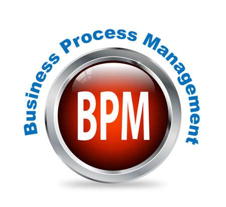 bpm: Illustration of shiny round glossy button of business process management - bpm Stock Photo