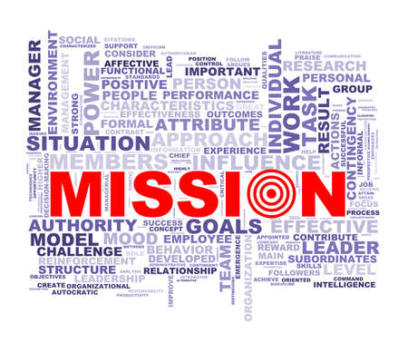 accomplishing: Illustration of wordcloud word tags of concept of mission