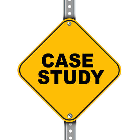 business case: Illustration of yellow signpost road sign of case study Stock Photo
