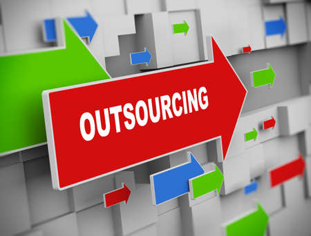 supplier: 3d illustration of moving arrow of outsourcing on abstract wall background.