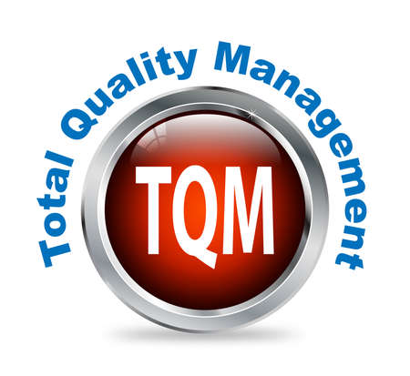 total: Illustration of shiny round glossy button of  total quality management - tqm