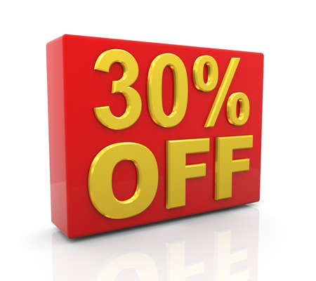 per cent: 3d illustration of 30 per cent off sale discount.